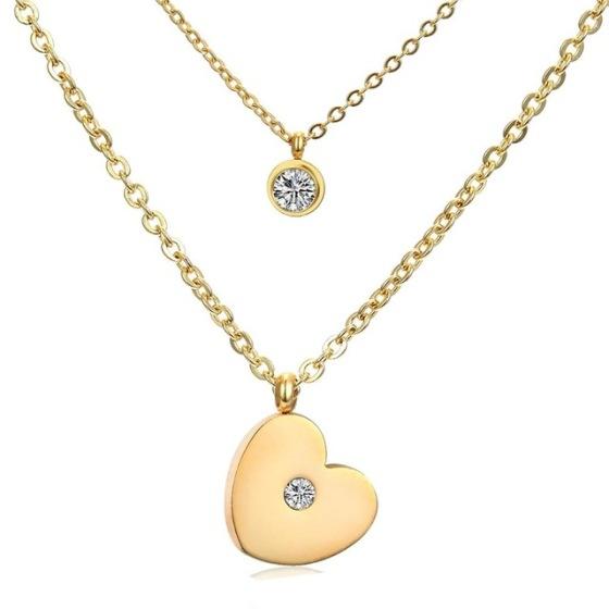 collar corazon y circonita oro