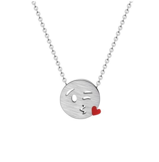 collar emoticono corazon plata