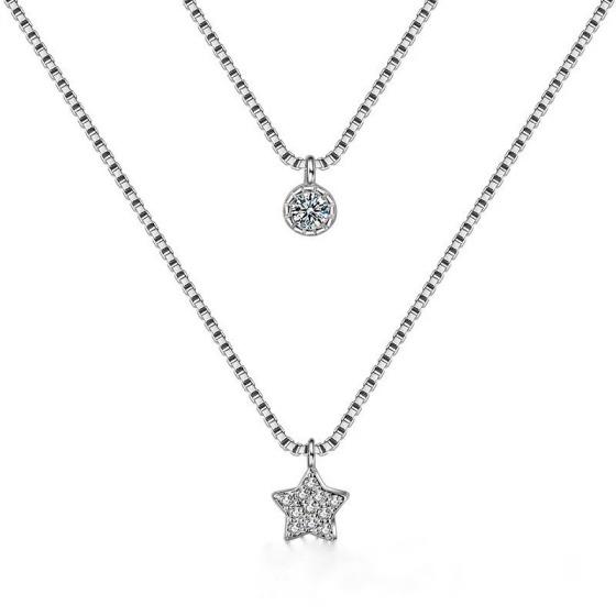 collar estrella plata