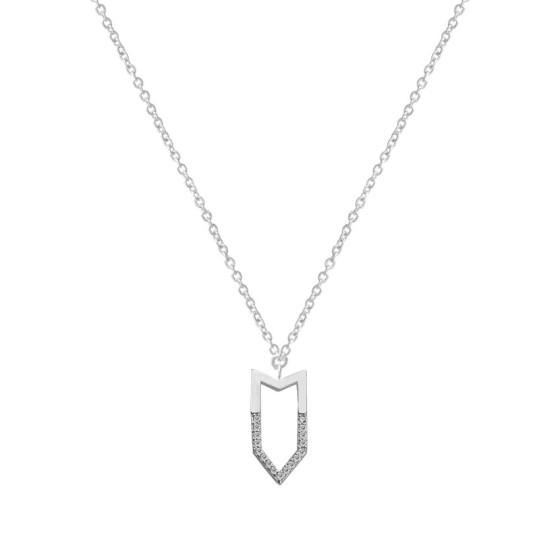 collar geometrico plata